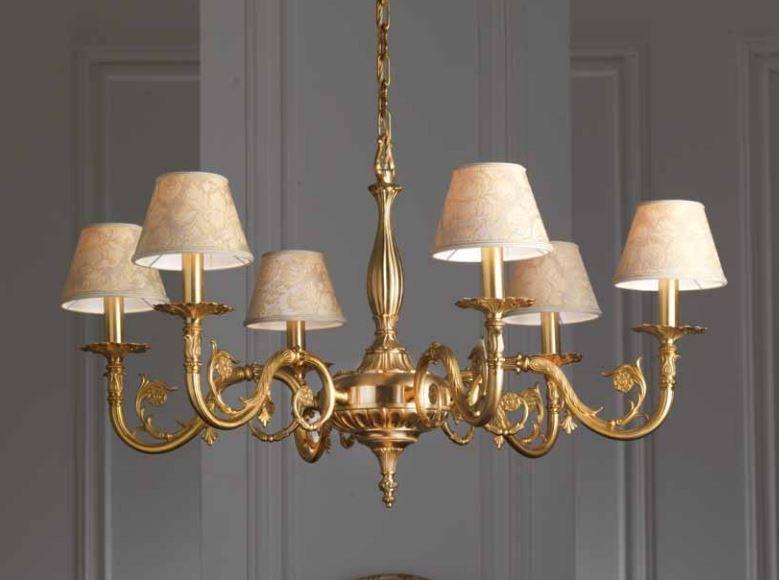 50029 6lp lampadario classico di imas 6 luci con paralumi for Lampadario classico