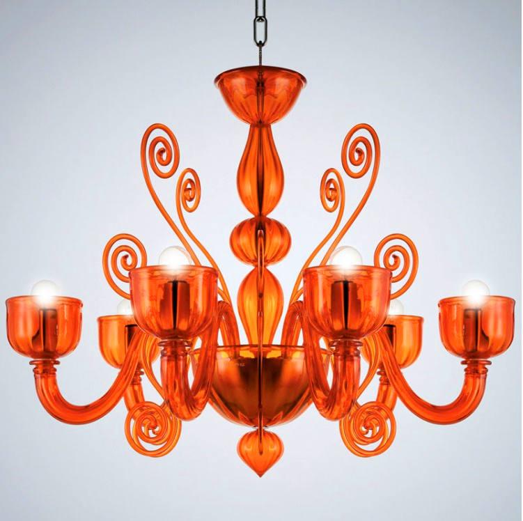 Lampadario La Murrina 6 luci Glamour S6 arancio, sconto 50% - PRODOTTO ESAURITO