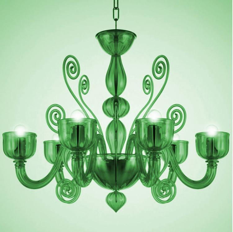 Lampadario La Murrina 6 luci Glamour S6 verde, sconto 50% - PRODOTTO ESAURITO