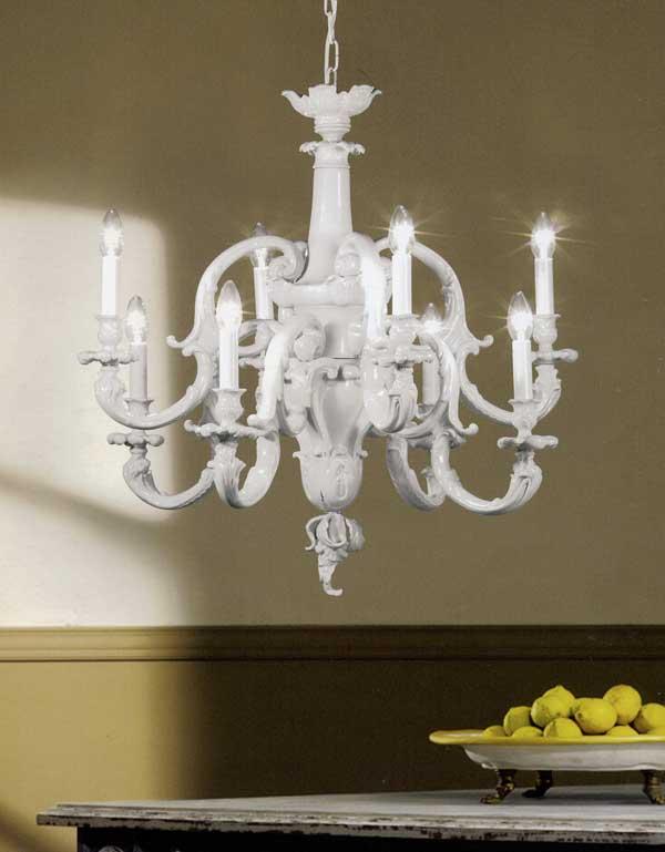Lampadario 8 luci, finitura: porcellana, collezione: Non Colour living salone camera letto