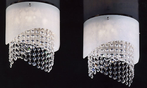 Plafoniere Moderne Con Cristalli : Plafoniera trilogy con montatura cromo e cristalli asfur